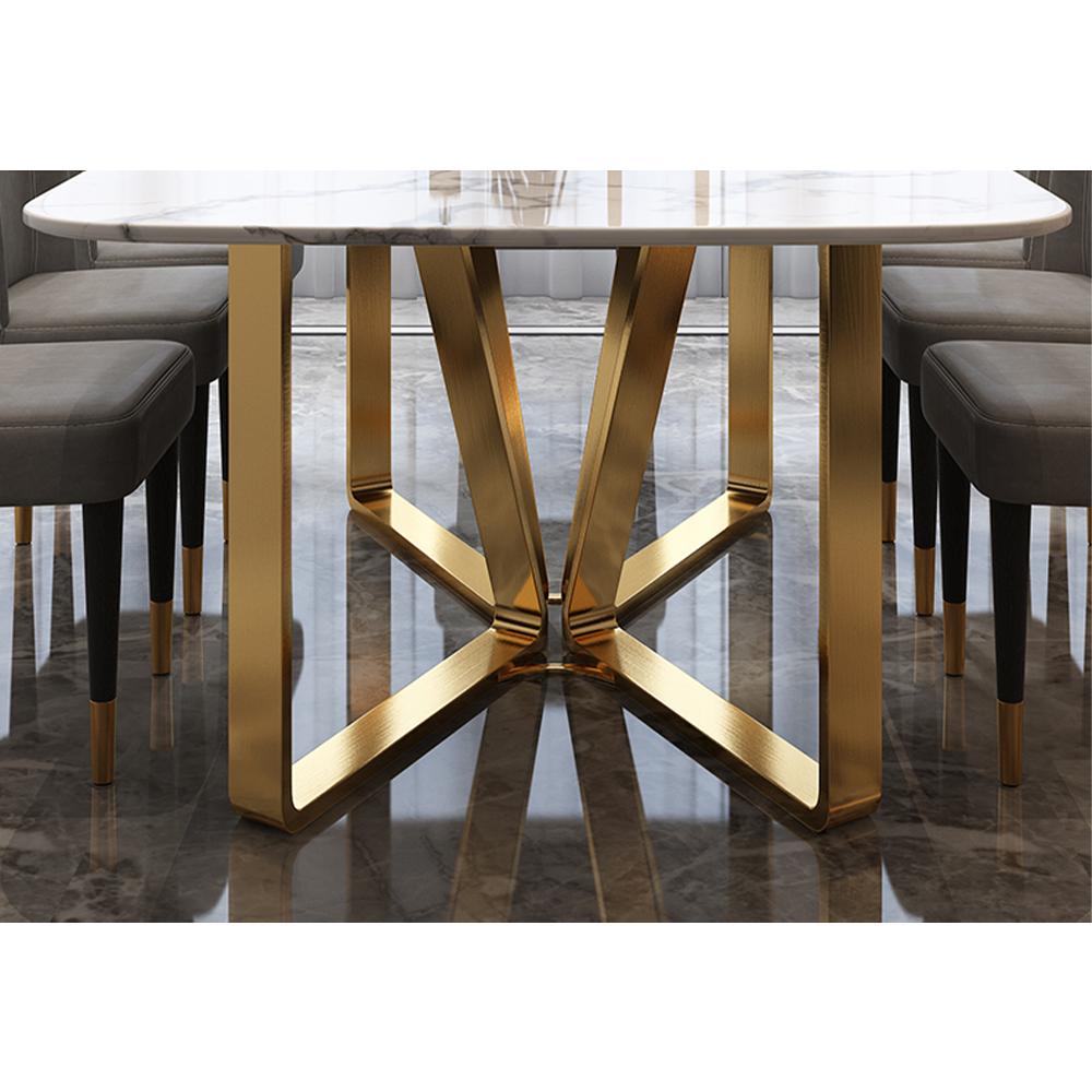โต๊ะกินข้าวหินอ่อนขาสแตนเลส